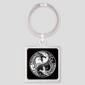 White Yin Yang Dragons with Black Back Keychains