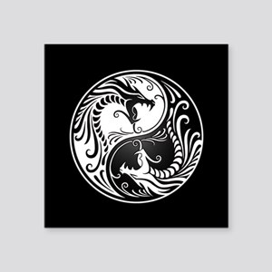 White Yin Yang Dragons with Black Back Sticker