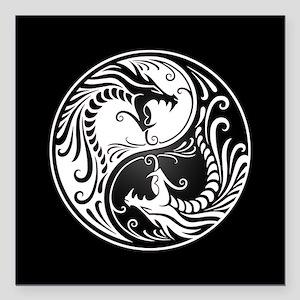 White Yin Yang Dragons with Black Back Square Car