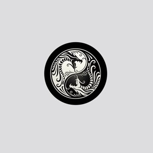 White Yin Yang Dragons with Black Back Mini Button