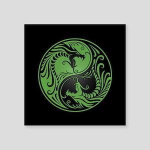 Green Yin Yang Dragons with Black Back Sticker
