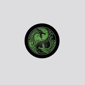 Green Yin Yang Dragons with Black Back Mini Button