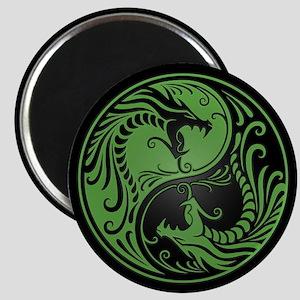 Green Yin Yang Dragons with Black Back Magnets