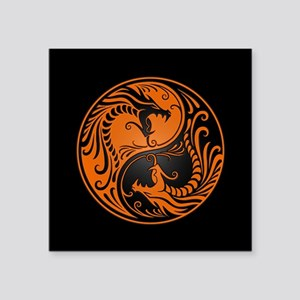 Orange Yin Yang Dragons with Black Back Sticker
