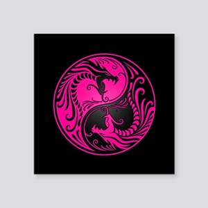 Pink Yin Yang Dragons with Black Back Sticker