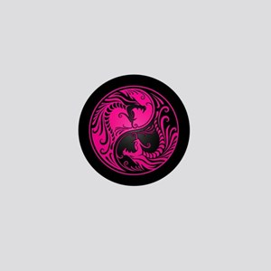 Pink Yin Yang Dragons with Black Back Mini Button