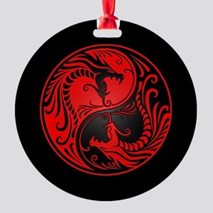 Red Yin Yang Dragons with Black Back Round Ornamen