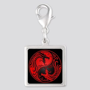 Red Yin Yang Dragons with Black Back Charms