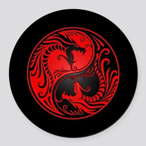 Red Yin Yang Dragons with Black Back Round Car Mag