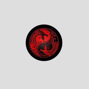 Red Yin Yang Dragons with Black Back Mini Button