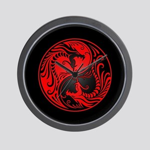 Red Yin Yang Dragons with Black Back Wall Clock