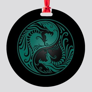 Teal Blue Yin Yang Dragons with Black Back Round O