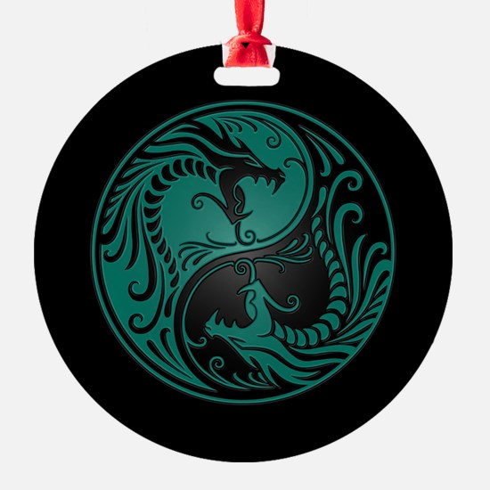Teal Blue Yin Yang Dragons with Black Back Ornament