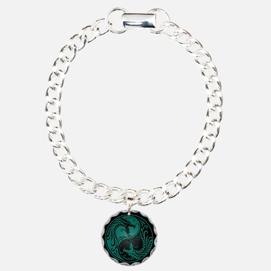 Teal Blue Yin Yang Dragons with Black Back Bracelet