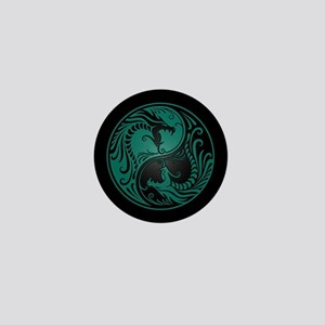 Teal Blue Yin Yang Dragons with Black Back Mini Bu