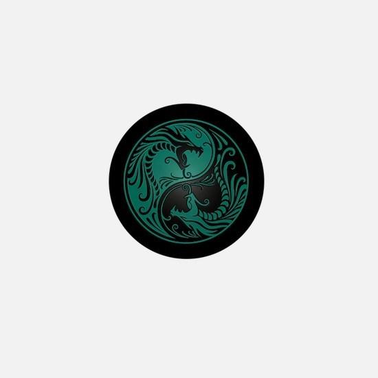 Teal Blue Yin Yang Dragons with Black Back Mini Bu