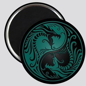 Teal Blue Yin Yang Dragons with Black Back Magnets