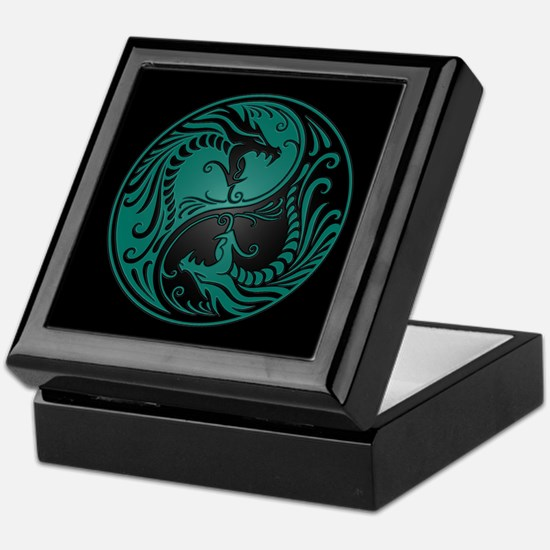 Teal Blue Yin Yang Dragons with Black Back Keepsak