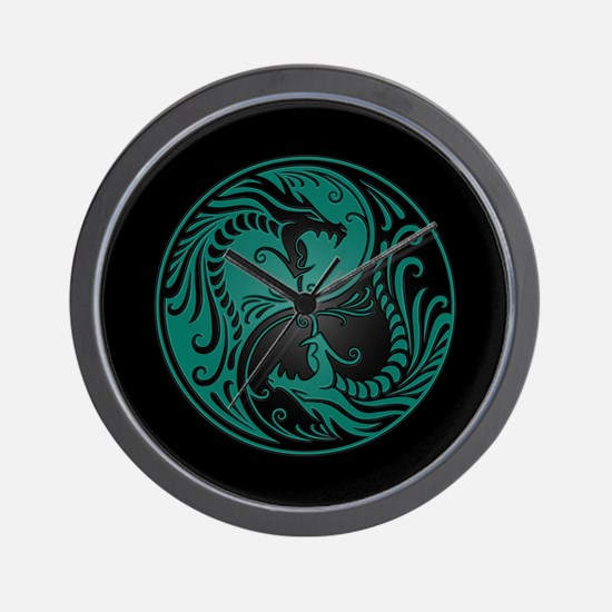 Teal Blue Yin Yang Dragons with Black Back Wall Cl