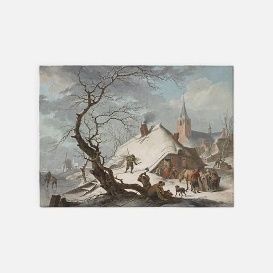 Hendrik Meyer - A Winter Scene 5'x7'Area Rug