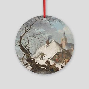 Hendrik Meyer - A Winter Scene Round Ornament