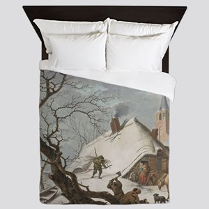 Hendrik Meyer - A Winter Scene Queen Duvet