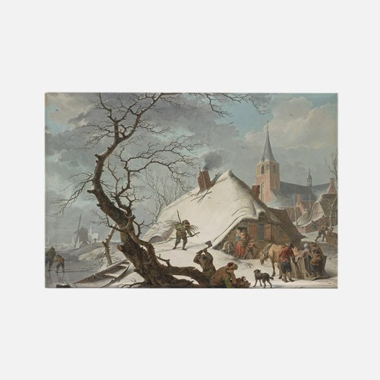 Hendrik Meyer - A Winter Scene Rectangle Magnet