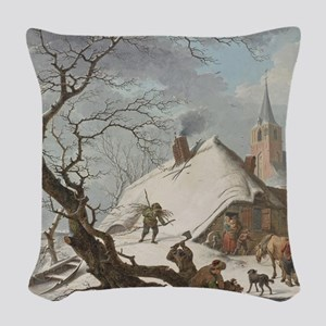 Hendrik Meyer - A Winter Scene Woven Throw Pillow