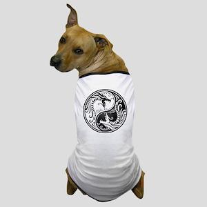 Black and White Yin Yang Dragons Dog T-Shirt