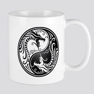 Black and White Yin Yang Dragons Mugs