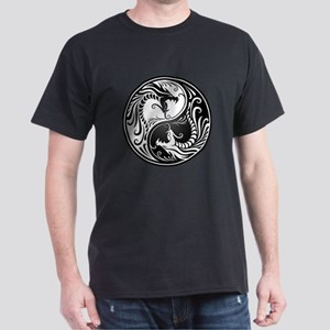 Black and White Yin Yang Dragons T-Shirt