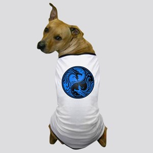 Blue and Black Yin Yang Dragons Dog T-Shirt