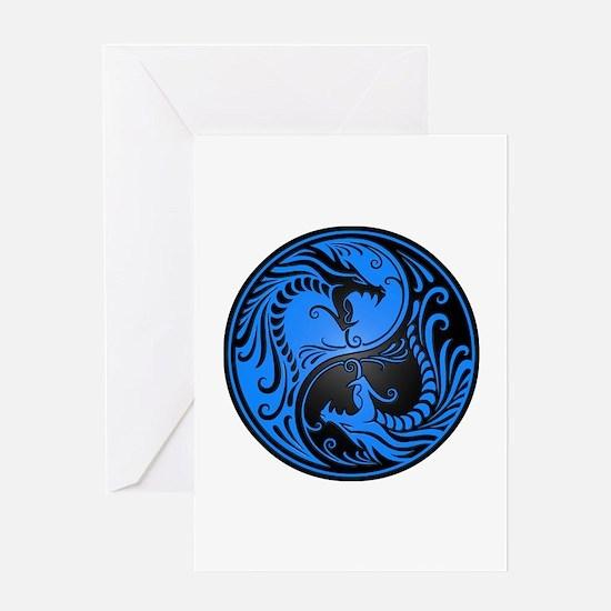 Blue And Black Yin Yang Dragons Greeting Cards