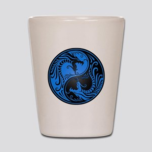 Blue and Black Yin Yang Dragons Shot Glass