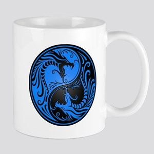 Blue and Black Yin Yang Dragons Mugs