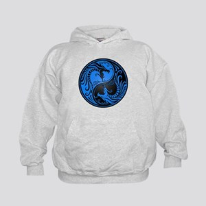Blue and Black Yin Yang Dragons Hoodie