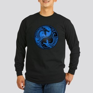Blue and Black Yin Yang Dragons Long Sleeve T-Shir
