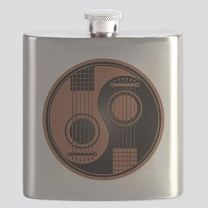 Brown and Black Yin Yang Acoustic Guitars Flask