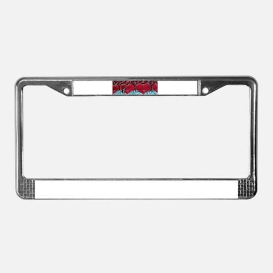 Boston Terrier hearts Trees of Life License Plate