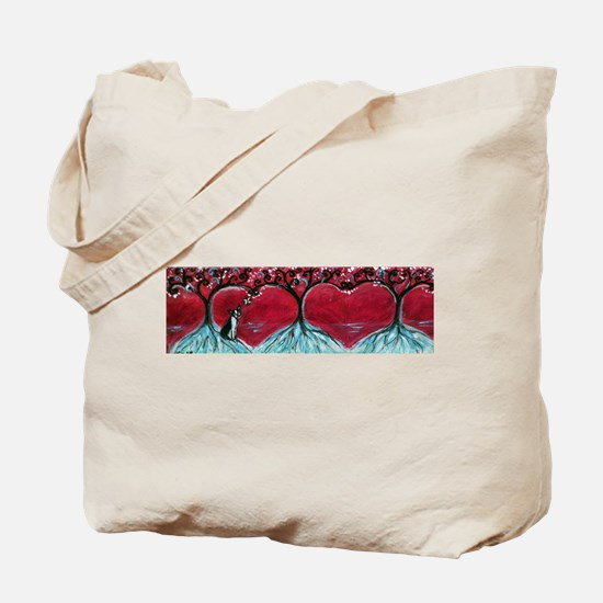 Boston Terrier hearts Trees of Life Tote Bag