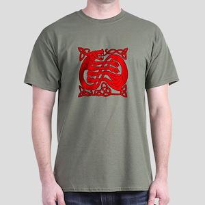 red celtic dragon Dark T-Shirt