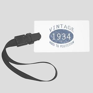 1934 Vintage Birthday (blue) Large Luggage Tag