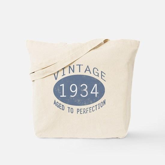 1934 Vintage Birthday (blue) Tote Bag