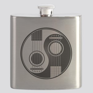 White and Black Yin Yang Acoustic Guitars Flask