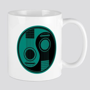 Teal Blue and Black Yin Yang Acoustic Guitars Mugs