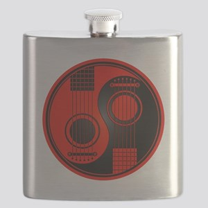 Red and Black Yin Yang Acoustic Guitars Flask