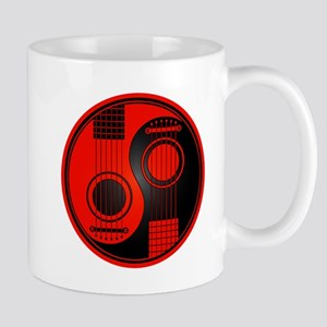 Red and Black Yin Yang Acoustic Guitars Mugs
