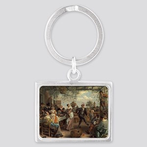 Jan Steen - The Dancing Couple Landscape Keychain