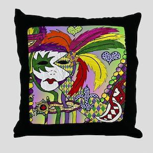 Mardi Gras Feather Masks Throw Pillow