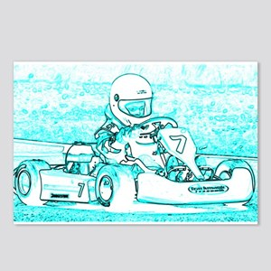 Kart Racer Blue and White Postcards (Package of 8)